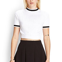 FOREVER 21 Cropped Knit Sweater White/Black Large