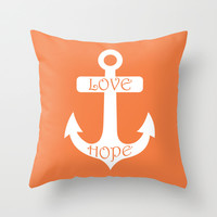 Love Hope Anchor Celosia Orange Throw Pillow by BeautifulHomes | Society6