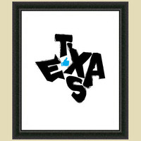 I Like Texas State Typographical Map Art by Visuaria on Etsy