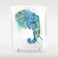 Elephant Head II Shower Curtain by Rachel Caldwell