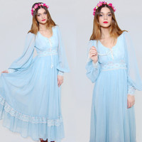 Vintage 70s GUNNE SAX Maxi Dress Baby Blue Empire Waist LACE Hippie Dress Boho Wedding Dress