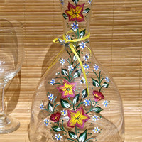 Hand Painted Carafe With Pink and Yellow Flowers