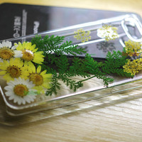 Unique Pressed flower Real Leaf Yellow flowers Dried iphone 4s cases iphone 5s case iphone 5c Case Samsung galaxy note 3 s3 s4 s5 cover skin