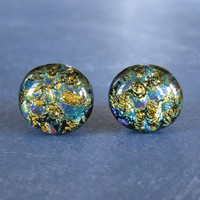 Colorful Dichroic Earrings, Stud Earrings, Fashion Earring Jewelry, Evening Jewelry - Roxy - 2291 -4