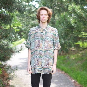 Oversized Geometric Button-Up Hawaiian Shirt