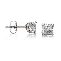 7/8 CT. T.W. Princess-Cut Diamond Stud Earrings in 14K White Gold - View All Earrings - Zales