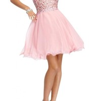 Angel Bridal A-Link Strapless Short Tulle Homecoming Cocktail Prom Party Dresses