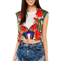 Parrot Print Boxy Crop Top