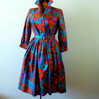 Vintage Designer Dress Floral Jewel Tones Sa'bett of California full skirt