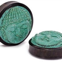 Carved Turquoise Buddha Face | Body Jewelry Plugs