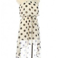 TRENDY POLKA DOTTED TUBE DRESS WITH HIGH LOW HEM