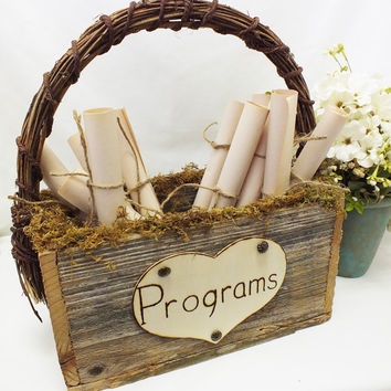 Wedding Program Box - Rustic Wedding, Country Wedding, Burlap Wedding decor