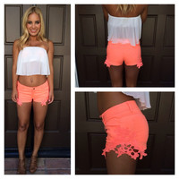 "Reck""Lace"" Shorts - NEON CORAL"