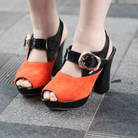 Wholesale Feet to show comfortable fashion sexy joker thick heel sandals Z-BD-C8 red - Lovely Fashion
