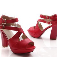 Wholesale Western hot style sexy buckle thick heel sandals Z-BD-C7 red - Lovely Fashion