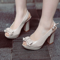 Wholesale Korea style sweet bowknot fish mouth thick heel pumps Z-BD-C10 rice - Lovely Fashion