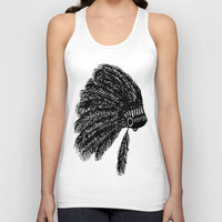 Native American Headdress Tank - Hand Drawn Graphic Tank - Graphic Tee- Graphic Tank Top - Sheer Racerback Tank - Black and White Tank Top