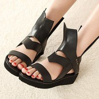 Wholesale Hongkong style hallow-out peep toe high cut sandals SY-C0641 black - Lovely Fashion