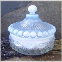 Pure Natural Dusting Powder Unscented in Antique Style Glass Vessel | Soapsmith - Bath & Beauty on ArtFire