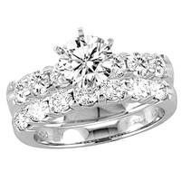 1 CT. T.W. Diamond Bridal Set in 14K White Gold - View All Rings - Zales