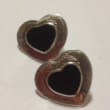 Onyx Hearts Earrings Sterling Silver Black Mexican Mexico 925 Southwestern Vintage Tribal Jewelry Stones Birthday Gift Etched Taxco
