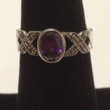 Amethyst Sterling RING Size 7 1 CT Carat Silver Marcasite Oval  925 Purple Gemstone Sparkly Vintage Engagement Cocktail February Birthstone