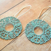 M E R M A I D Teal Blue Turquoise Circle Lace Dangle Earrings by handmadebyfirefli