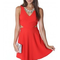 Alluring Red Cutout Dress