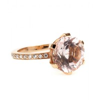 18KT ROSE GOLD ZAZA RING WITH FACETED MORGANITE AND WHITE DIAMONDS