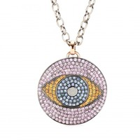 LARGE MAGIC EYE BLACK SILVER PENDANT NECKLACE WITH MULTICOLORED SAPPHIRES AND 18KT ROSE GOLD DETAIL ON BLACK STERLING SILVER CHAIN