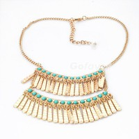 Unique Bilayered Multi-row Squares Bib Necklace at Online Jewelry Store Gofavor