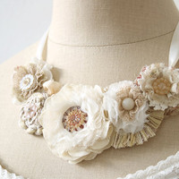 Wedding Floral Necklace in Ivory White Cream by rosyposydesigns