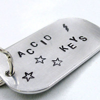 Large Accio Keys Keychain - Hand Stamped Harry Potter Keyring | foxwise
