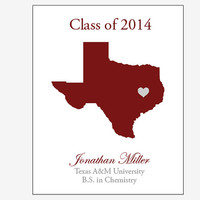 Custom Graduation Print personalized college graduation gift long distance state