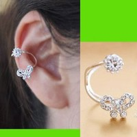Bow And Diamond Ear Cuff (Adjustable, No Piercing)