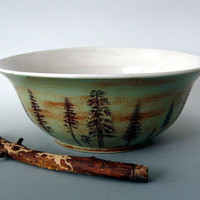 Large Ceramic  Bowl - Pine Trees - 2 1/2  quarts  - 10 cups -  Hand Thrown Stoneware Pottery
