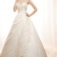 A-Line Sweetheart Neckline Beaded Lace Satin 2012 Spring Fashion Wedding Dresses BDSW0099 - cheap price 2012 online shop for sale.
