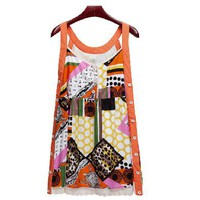 Fashionable print baby doll condole belt dress
