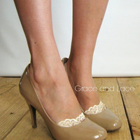 Lace Peep Socks - NUDE lace socks - lacey sock - lace socks for heels pumps or flats grace and lace and grace