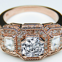 Engagement Ring - Radiant Diamond Vintage Engagement Ring Trapezoids side stones in 14K Pink Gold - ES240RARG