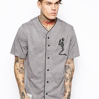 Religion Baseball Shirt with Large Skeleton - stormgrey