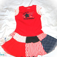 Girls size 5/6 Upcycled red, white and blue dress, Grandma's Little Firecracker