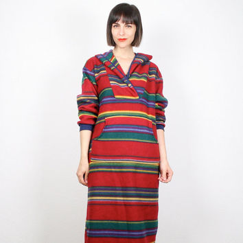 Vintage 90s Dress Southwestern Striped Maxi Dress 1990s Fleece Hoodie Poncho Sweater Dress Navajo Grunge Baja Mexican Blanket Dress L Large