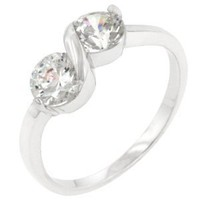 Infinity 1 CT Sterling Silver 14k Gold Finish CZ Ring Size 7