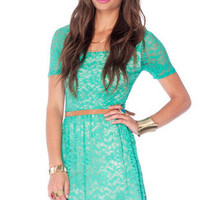 Fresh Lace Dress in Spearmint :: tobi