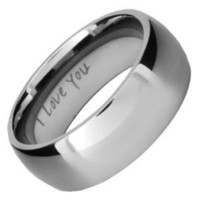 Brand New Mens Titanium Ring Engraved I Love You In Black Velvet Gift Box Size 13