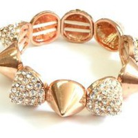 Rose Gold Plated Stretch Spike Bracelet with Swarovski Elements