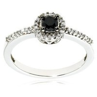 14k White Gold Black Diamond Ring (1/3 cttw), Size 9
