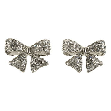 Rhinestone Embellished Bow Earrings