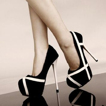 Women's Stripes Print High Heeled Platforms 040756 HSDP0516